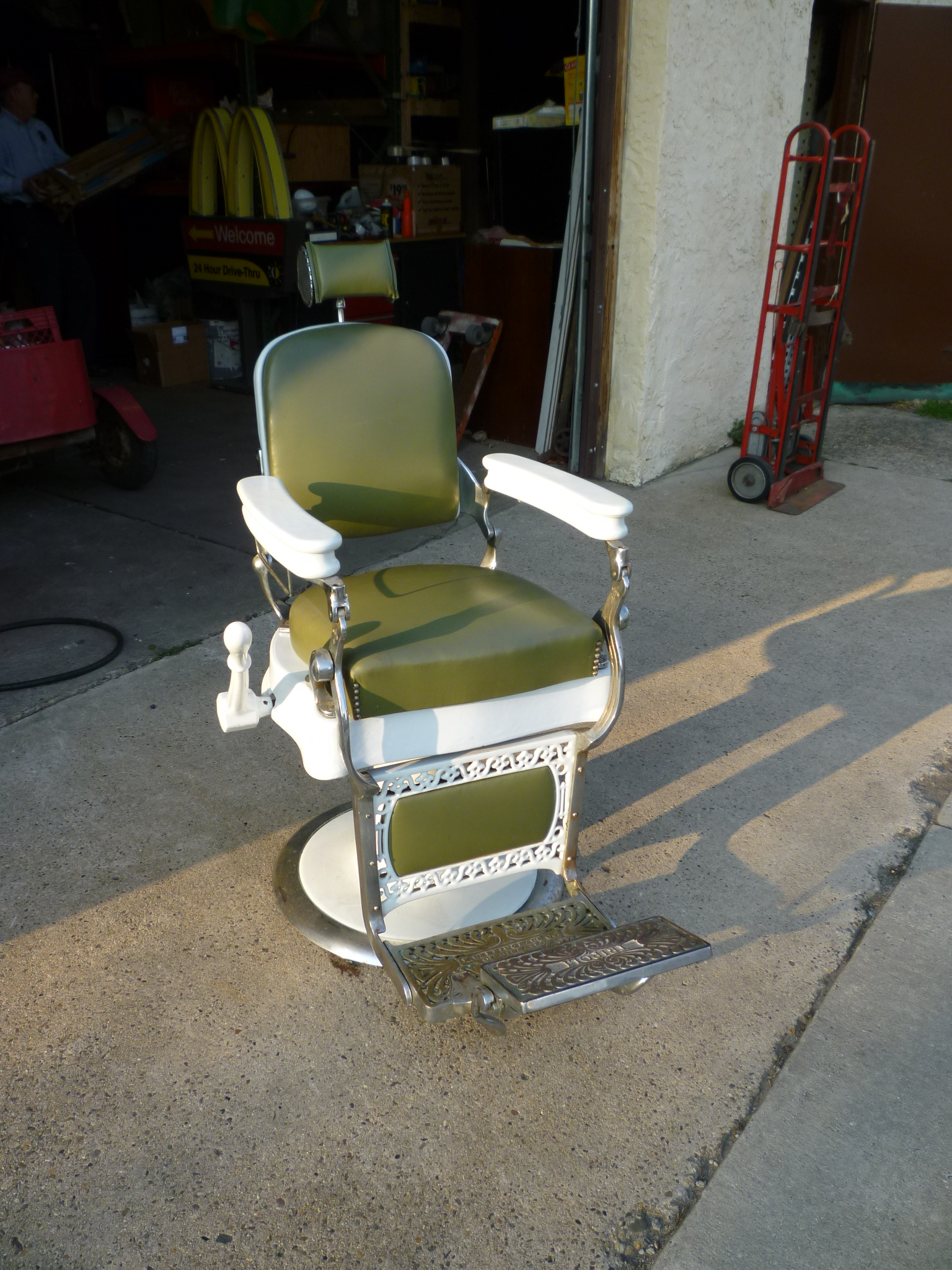 antique wood barber chair white wooden rocking nursery berninghaus shop  obnoxious antiques