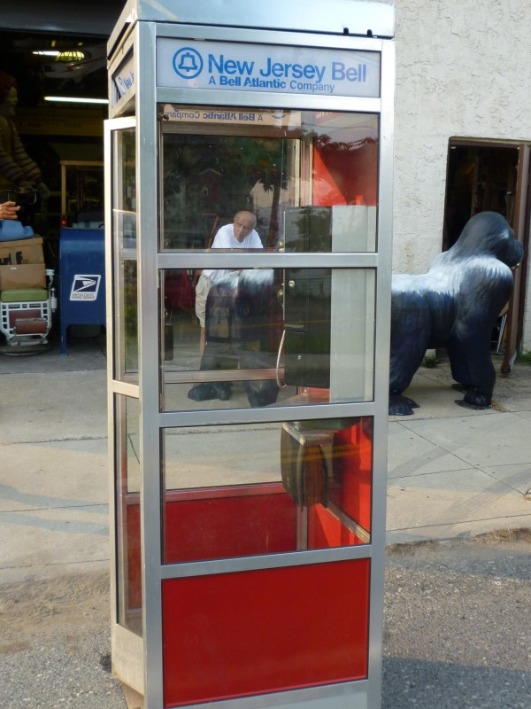 Vintage Aluminum Modern Phone Booth  Obnoxious Antiques