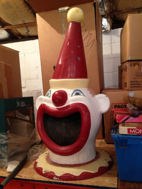 Vintage Carnival Clown Trash Can Top  Obnoxious Antiques