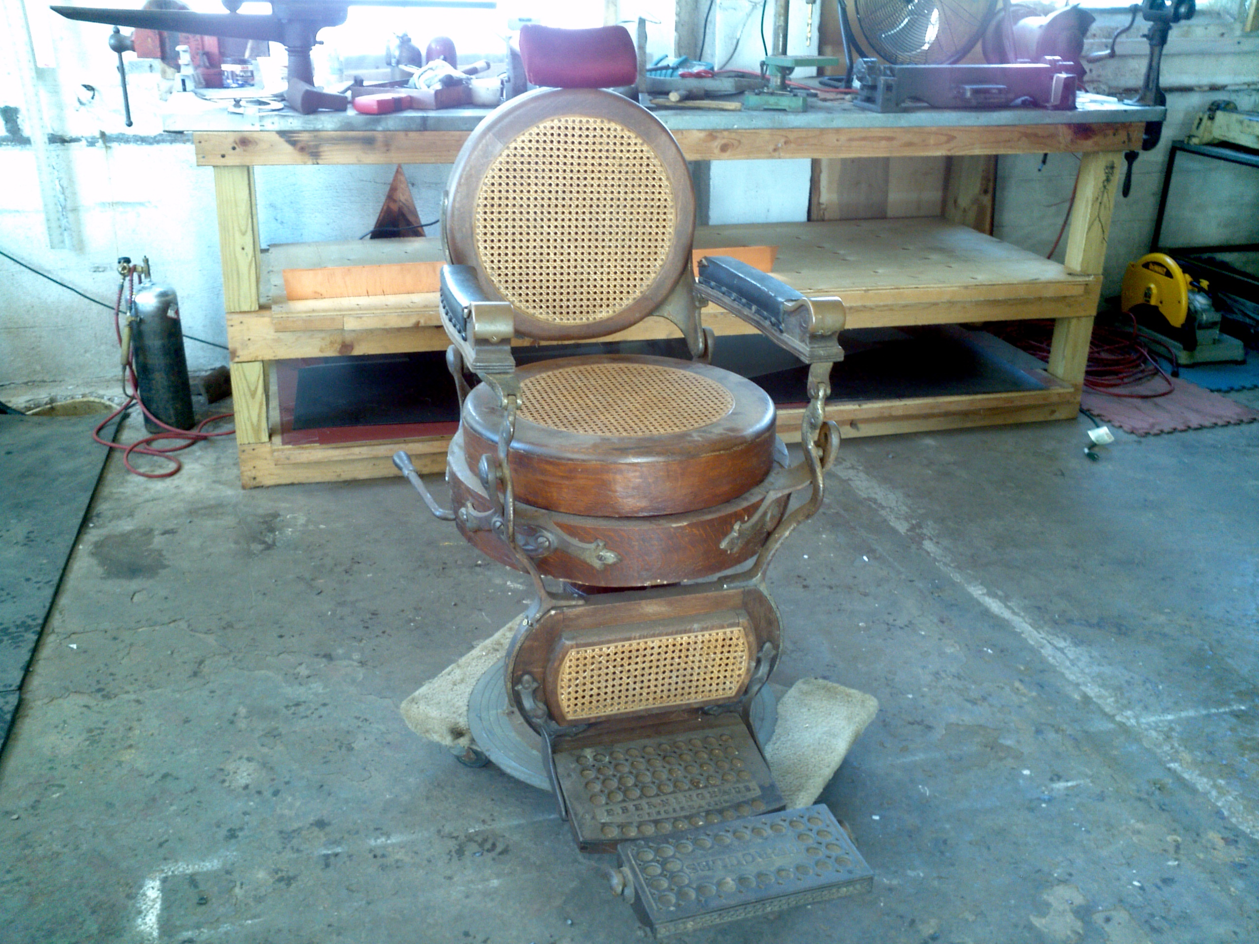 antique wood barber chair and stool in one 1901berninghaus wooden shop