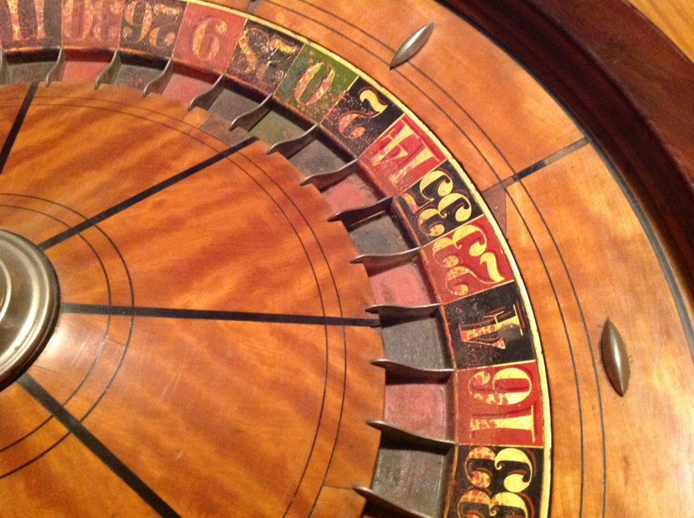 """Antique Roulette Wheel In Coffee Table """" Obnoxious Antiques"""