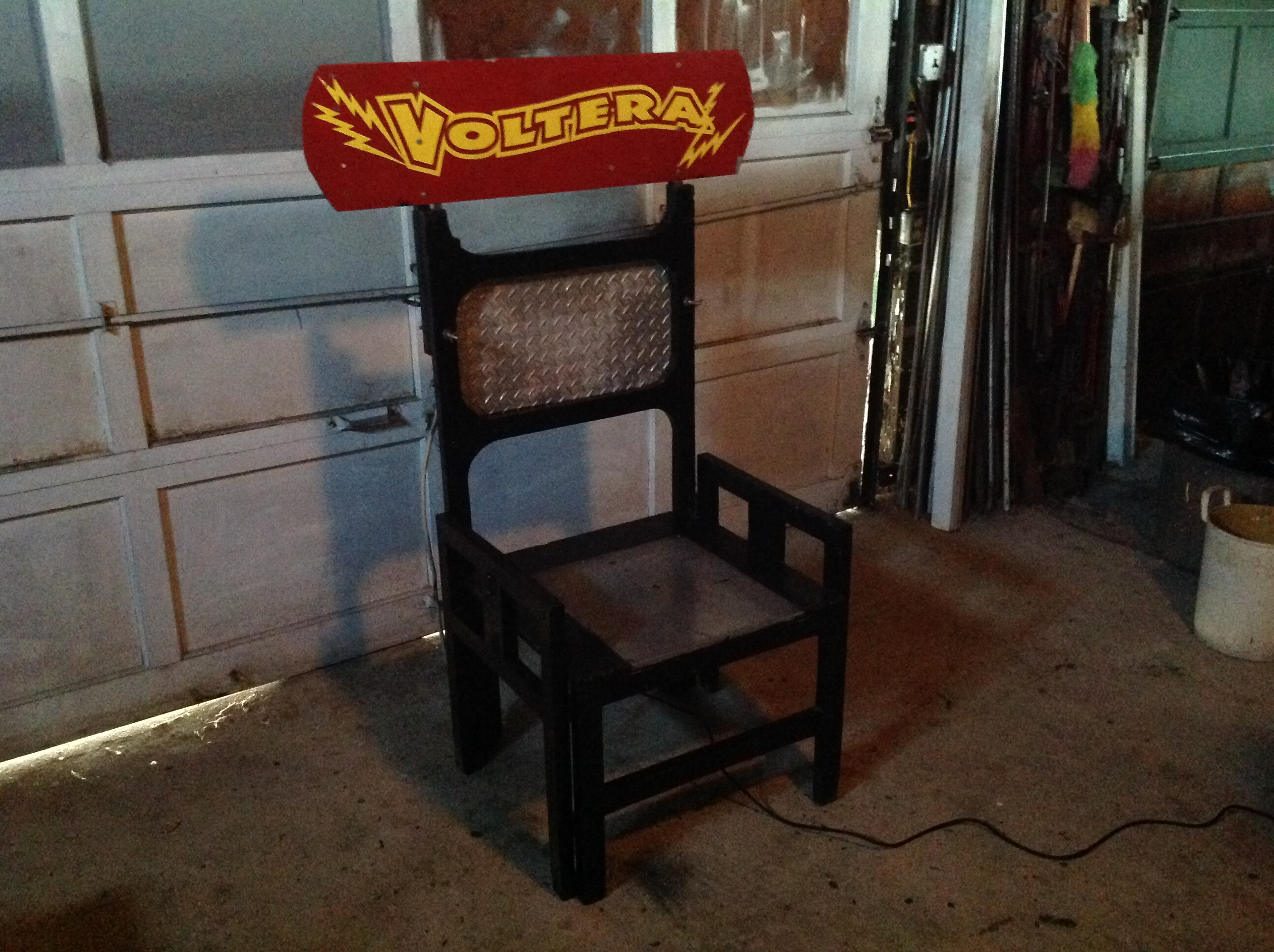 vintage electric chair blue parson covers working sideshow  obnoxious antiques