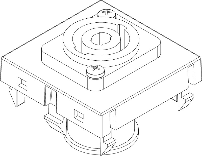 Speakon connection, 1 module, straight outlet, 4-pin