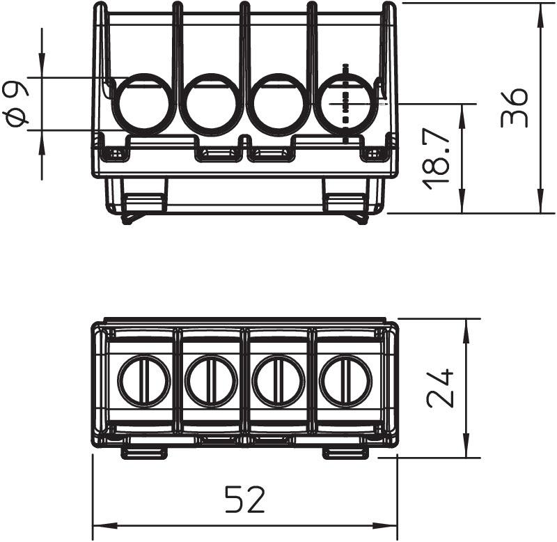 Terminal strip 16-35 mm², junction box, T series, X series