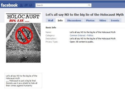 holocaust denial facebook