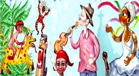 ilustração personagens do folclore