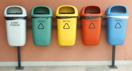 Foto de cestas de reciclagem de lixo. Esta foto foi tirada no prédio do ICB USP [http://commons.wikimedia.org/wiki/File:Reciclagem.jpg]