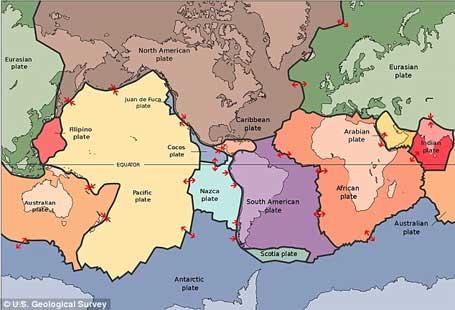 Imagem de mapa com localização das placas tectônicas ligadas a terremoto