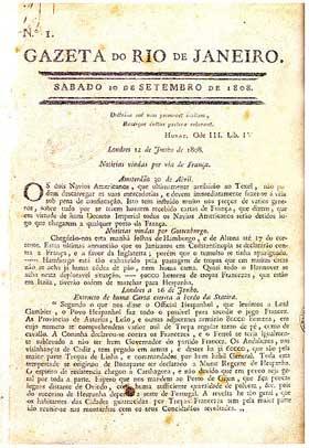 Gazeta do Rio de Janeiro - primeiro jornal brasileiro