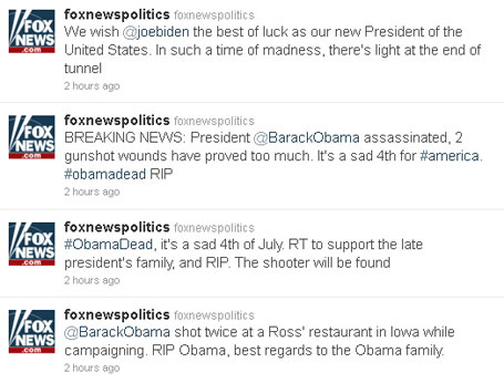 Hackers anunciando morte de Obama no Twitter da Fox