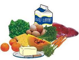 Ilustração alimentos ricos em vitamina A