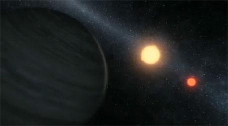 Imagem do planeta com dois sóis