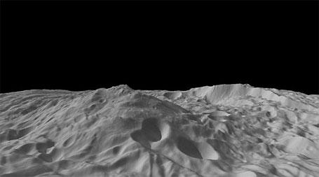 Imagem do asteroide Vesta mostrando sua topografia Sul (NASA)