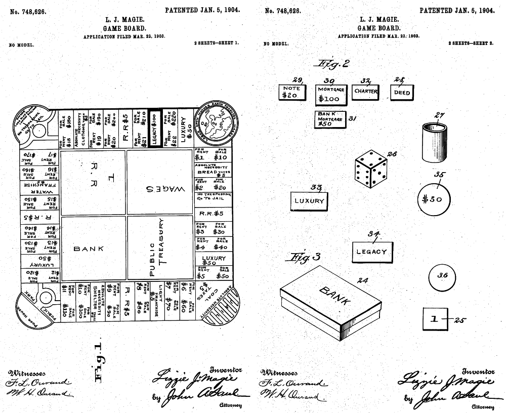 hight resolution of the landlord s game proto monopoly patent drawing