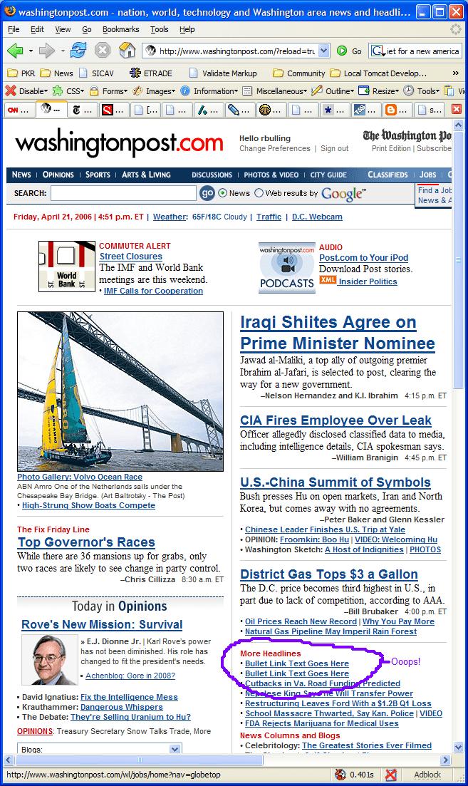 Washington Post screenshot showing '* Bullet Link Goes Here' errors