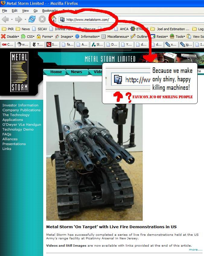 Metal Storm web site snapshot