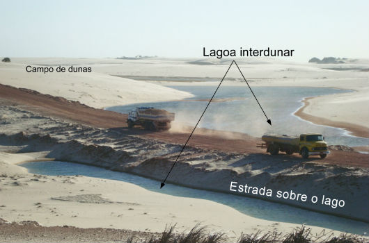 A construção de vias de acesso dos parques eólicos causa mudanças nas lagoas interdunares