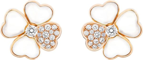 VCARO5BZ00_Cosmos medium model earrings, pink gold, white mother-of-pearl, diamonds, diamond center_520995