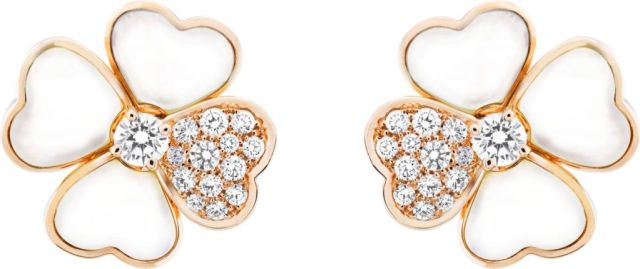 VCARO5BZ00_Cosmos medium model earrings, pink gold, white mother-of-pearl, diamonds, diamond center_520995