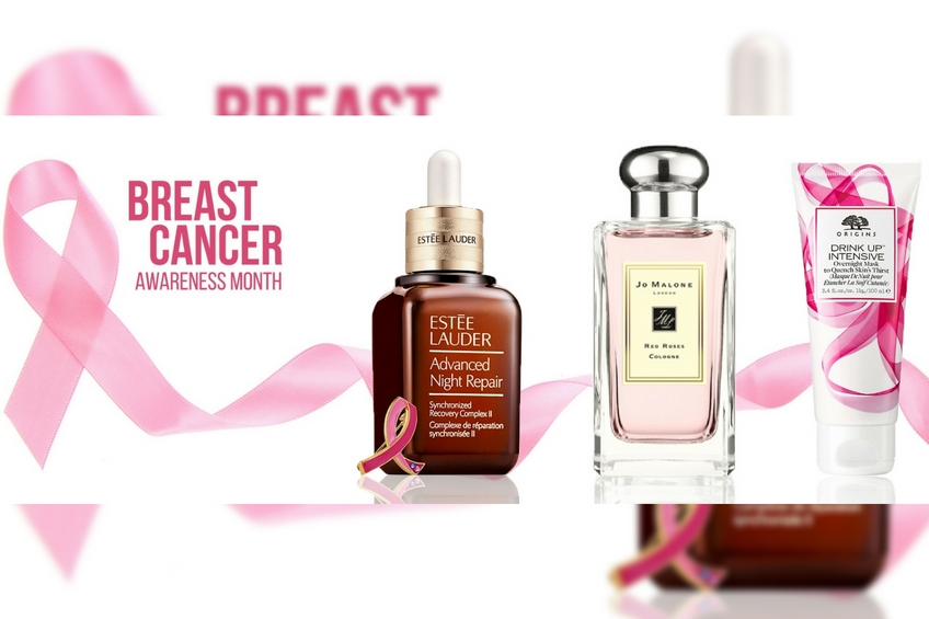 Pink breast cancer awareness beauty donate products cause shop