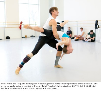 Peter Franc and Jacqueline Straughan rehearsing Nicolo Fonte's world premiere Giants Before Us one of three works being presented in Oregon Ballet Theatre's fall production GIANTS, Oct 8-15, 2016 at Portland's Keller Auditorium. Photo by Blaine Truitt Covert.