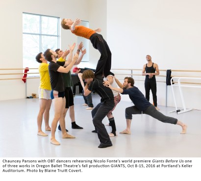 Chauncey Parsons with OBT dancers rehearsing Nicolo Fonte's world premiere Giants Before Us one of three works in Oregon Ballet Theatre's fall production GIANTS, Oct 8-15, 2016 at Portland's Keller Auditorium. Photo by Blaine Truitt Covert.