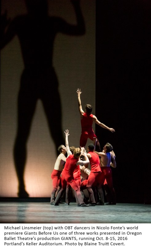 Michael Linsmeier (top) with OBT dancers in Nicolo Fonte's world premiere Giants Before Us one of three works presented in Oregon Ballet Theatre's production GIANTS, running Oct. 8-15, 2016 Portland's Keller Auditorium. Photo by Blaine Truitt Covert.