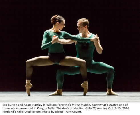 Eva Burton and Adam Hartley in William Forsythe's In the Middle, Somewhat Elevated one of three works presented in Oregon Ballet Theatre's production GIANTS, running Oct. 8-15, 2016 Portland's Keller Auditorium. Photo by Blaine Truitt Covert