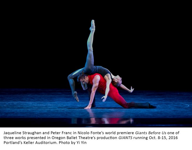 Jaqueline Straughan and Peter Franc in Nicolo Fonte's world premiere Giants Before Us one of three works presented in Oregon Ballet Theatre's production GIANTS running Oct. 8-15, 2016 Portland's Keller Auditorium. Photo by Yi Yin