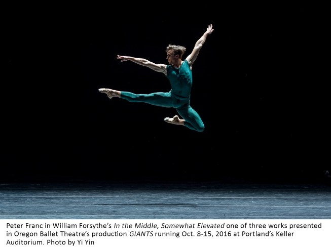 Peter Franc in William Forsythe's In the Middle, Somewhat Elevated one of three works presented in Oregon Ballet Theatre's 2016 fall production GIANTS at Portland's Keller Auditorium. Photo by Yi YIn