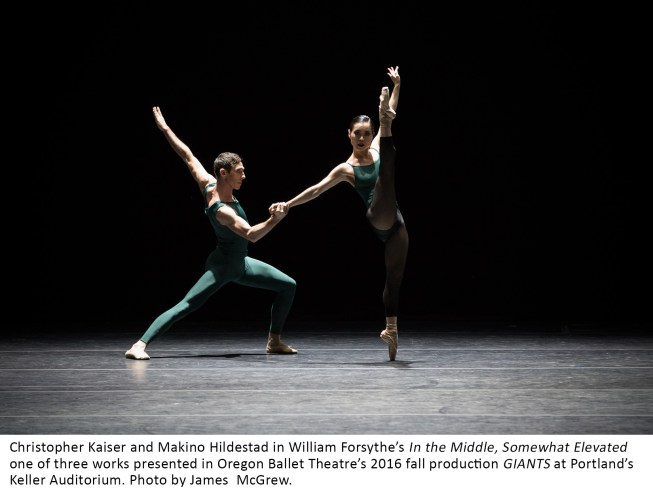 Christopher Kaiser and Makino Hildestad in William Forsythe's In the Middle, Somewhat Elevated one of three works presented in Oregon Ballet Theatre's 2016 fall production GIANTS at Portland's Keller Auditorium. Photo by James McGrew.