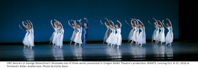 OBT dancers in George Balanchine's Serenade one of three works presented in Oregon Ballet Theatre's production GIANTS, running Oct. 8-15, 2016 at Portland's Keller Auditorium. Photo by Emily Nash.