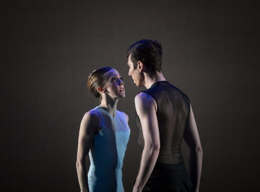 Emily Parker and Christopher Kaiser performing Nicolo Fonte's Left Unsaid, one of five ballets presented in Oregon Ballet Theatre's MAN/WOMAN, April 12 - 24, 2018 at the Newmark Theatre. Photo by James McGrew.