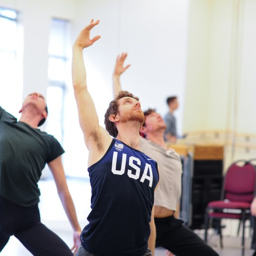 OBT dancers Christopher Kaiser, Christopher Kaiser, and Michael Linsmeier rehearsing James Canfield's Drifted in a Deeper Land, one of five ballets presented in Oregon Ballet Theatre's MAN/WOMAN, April 12 - 24, 2018 at the Newmark Theatre. Photo by Yi Yin.