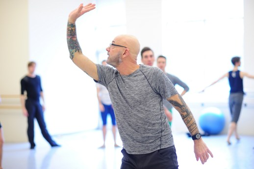 James Canfield in studio for his rehearsal of Drifted in a Deeper Land, one of five ballets presented in Oregon Ballet Theatre's MAN/WOMAN, April 12 - 24, 2018 at the Newmark Theatre. Photo by Yi Yin.