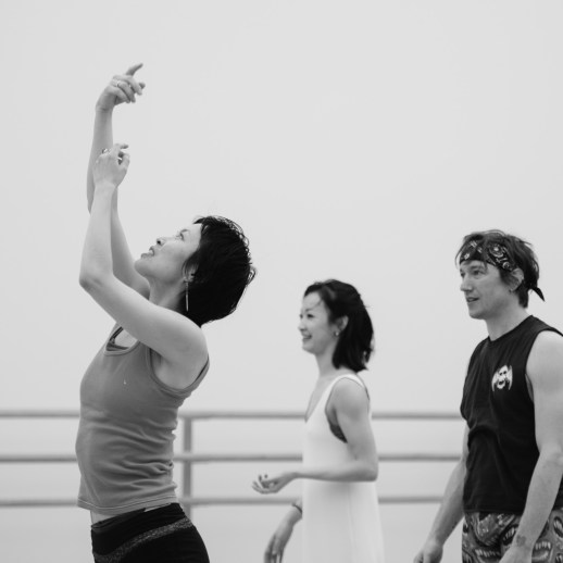 Xuan Cheng and Michael Linsmeier rehearsing Makino Hayashi's world premiere 'What do you see...', one of the many ballets presented in Oregon Ballet Theatre's Closer, May 24 - June 3, 2018 at the BodyVox Dance Center. Photo by Chris Peddecord