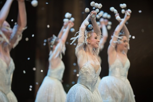 Jessica Lind and OBT dancers as snow in Oregon Ballet Theatre's 2017 production of George Balanchine's The Nutcracker®. Photo Yi Yin.