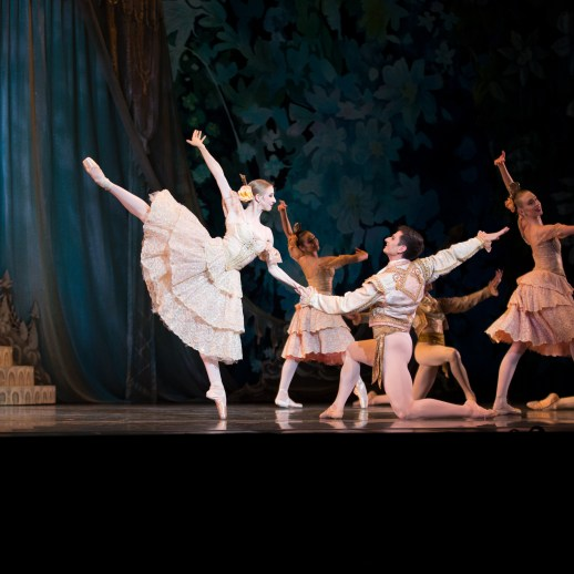 """OBT Company Artists Jessica Lind and Thomas Baker perform """"Coffee"""" in Oregon Ballet Theatre's 2017 production of George Balanchine's The Nutcracker®, Photo James McGrew"""
