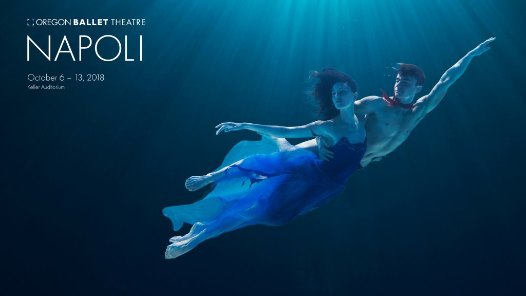Kimberly Nobriga and Peter Franc in promotional photo for Oregon Ballet Theatre's performance of Napoli, October 6-13, 2018