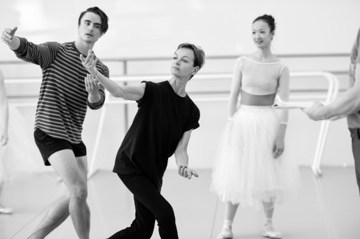 Peter Franc, stager Eva Kloborg, and Xuan Cheng in rehearsal for August Bournonville's Napoli, running October 6-13, 2018 at the Keller Auditorium. Photo by Yi Yin