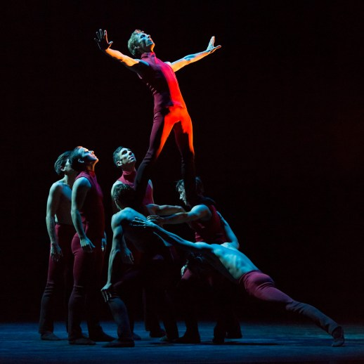 Chauncey Parsons with OBT dancers in Nicolo Fonte's world premiere Giants Before Us one of three works presented in Oregon Ballet Theatre's production GIANTS, running Oct. 8-15, 2016 Portland's Keller Auditorium. Photo by Blaine Truitt Covert
