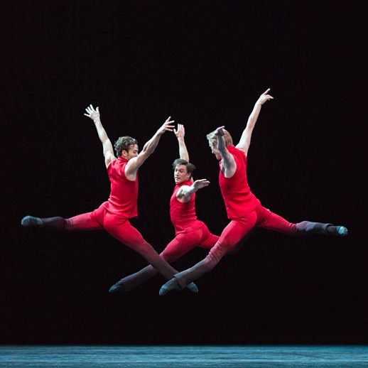 From left Avery Reiners, Michael Linsmeier, and Chauncey Parsons in Nicolo Fonte's world premiere Giants Before one of three works presented in Oregon Ballet Theatre's production GIANTS, running Oct. 8-15, 2016 at Portland's Keller Auditorium. Photo by Blaine Truitt Covert.