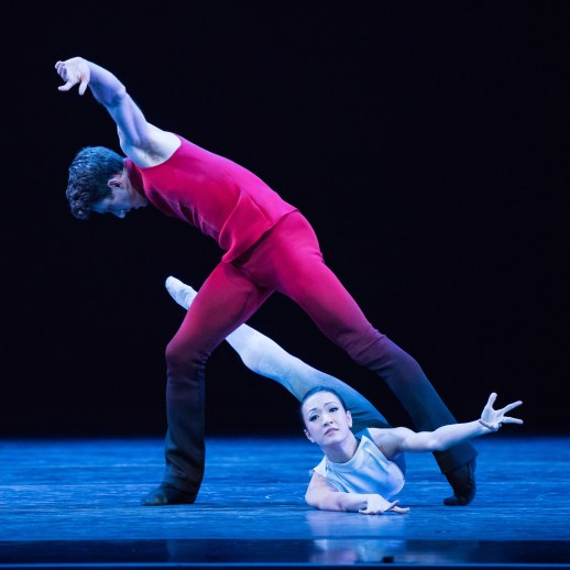 Brian Simcoe and Xuan Cheng in Nicolo Fonte's world premiere Giants Before one of three works presented in Oregon Ballet Theatre's production GIANTS, running Oct. 8-15, 2016 Portland's Keller Auditorium. Photo by Blaine Truitt Covert