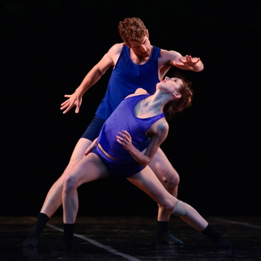 OBT dancers Brian Simcoe and Emily Parker in Gioconda Barbuto's BringingOutsideIn, one of three works presented at OBT's Choreography XX, June 29 - 30, 2017 at the Washington Park Rose Garden Amphitheater. Photo by Yi Yin.
