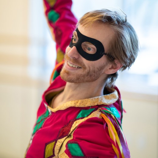 """OBT principal dancer Chauncey Parsons rehearsing as the jester in Ben Stevenson's """"Cinderella,"""" running February 16 - 23, 2019, at Portland's Keller Auditorium. Photo by James McGrew."""