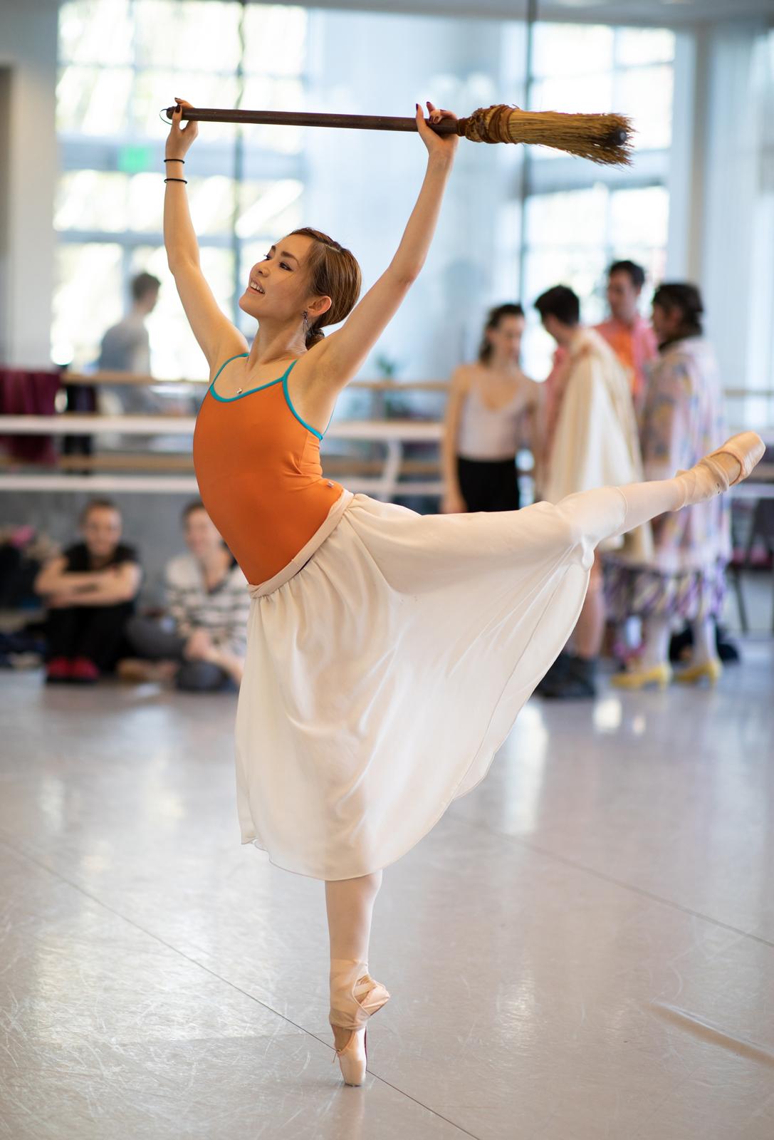 "OBT company dancer Ansa Capizzi rehearsing Ben Stevenson's ""Cinderella,"" running February 16 - 23, 2019, at Portland's Keller Auditorium. Photo by James McGrew."