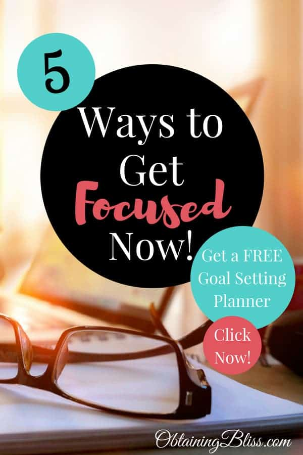Are those darn squirrels distracting you at work again? Maybe it's butterflies? Whatever it is, you need to learn these 5 Ways to Get Focused Now. Plus get a free Goal Setting Workbook! #focus #personaldevelopment #personalgrowth #distractions #mentalhealth #mentaldevelopment #selfcare #success #focustosucceed