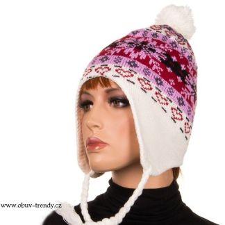 čepice norský vzor flecová bílá
