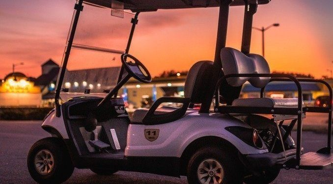 Side Rear Sunset View of Golf Cart OBX 1 - Product 2