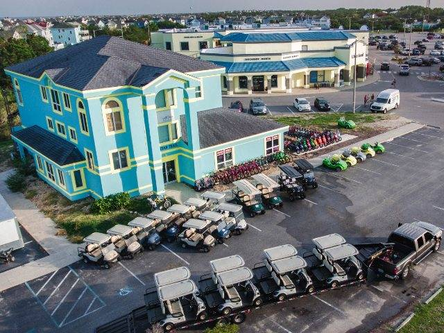 Drone Shot of storefront for OBX Beach Toy Rentals
